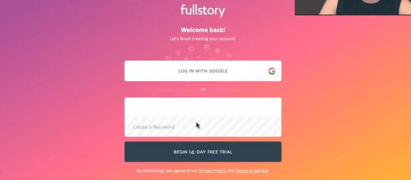 FullStory's original onboarding sequence step 4