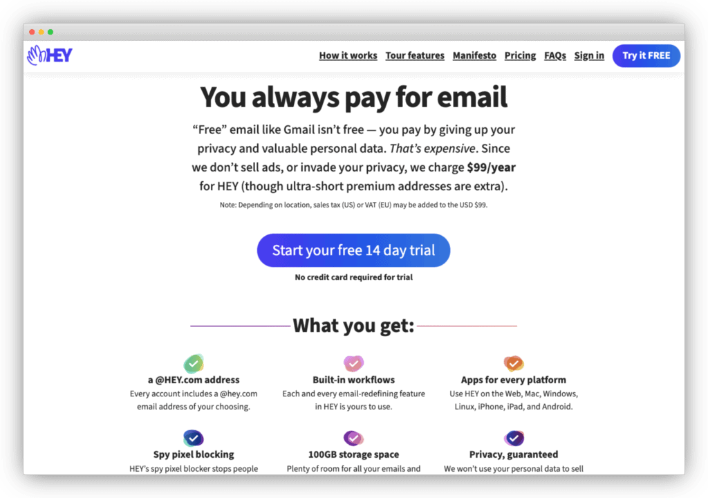 Hey's pricing page