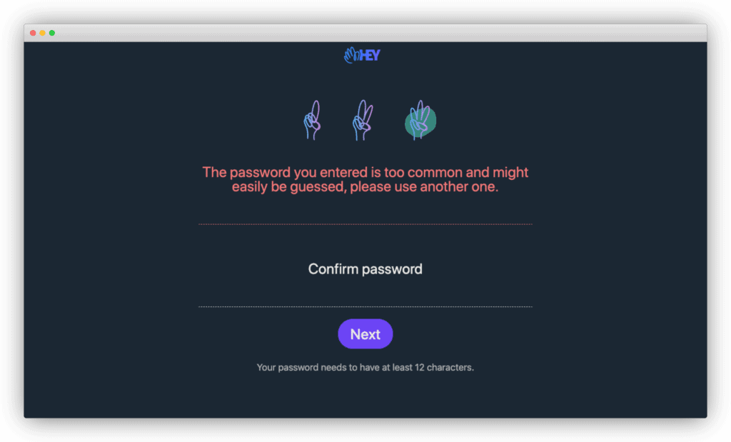 Hey's signup flow