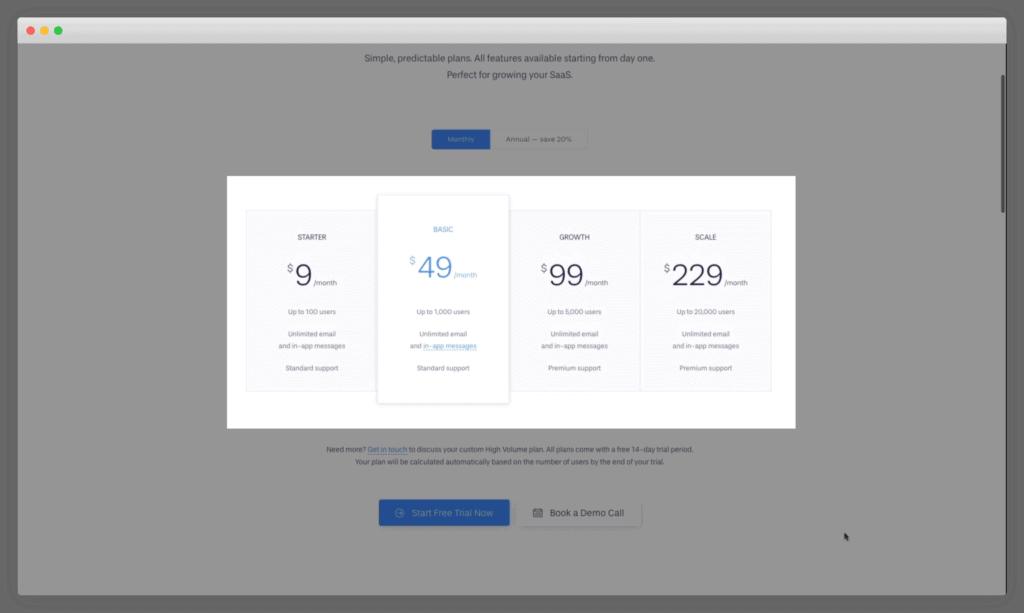 Userlist's pricing plans