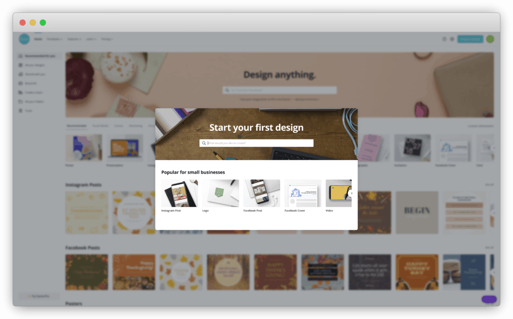 """image of Canva's """"start a design"""" page"""