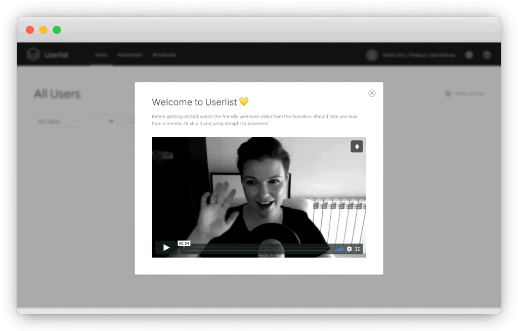 Userlist welcome video from founders during the user onboarding