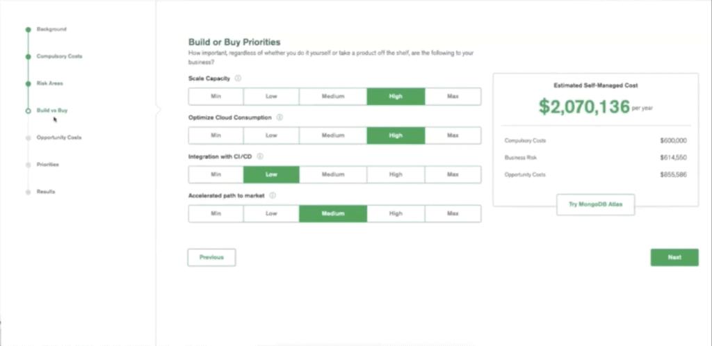 MongoDB product pricing calculator
